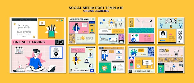 Online lernen social media post vorlage Premium PSD