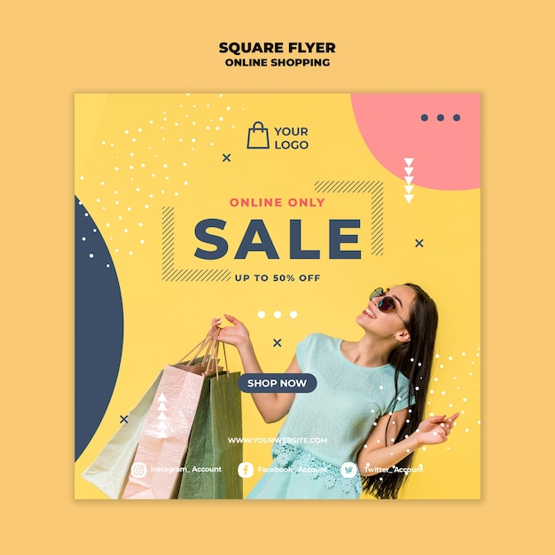 Online shopping square flyer Kostenlosen PSD
