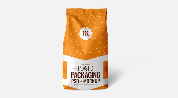 Orange cofffee pouch bag mockup plastikbeutel folie silber Premium PSD