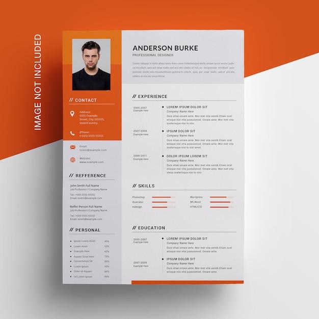 Orange lebenslauf mit seitenleiste Premium PSD