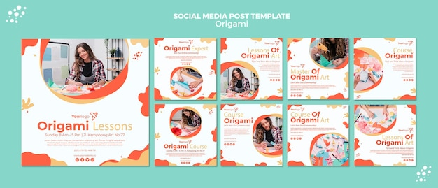 Origami social media post Premium PSD