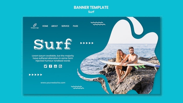 Paar am meer mit surfbrettbanner Kostenlosen PSD