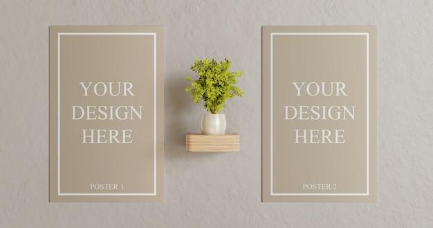 Paar poster mockup an der wand mit pflanzendekoration Premium PSD