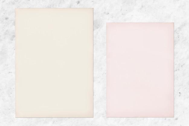 Papiermodell eingestellt auf marmorhintergrund Kostenlosen PSD