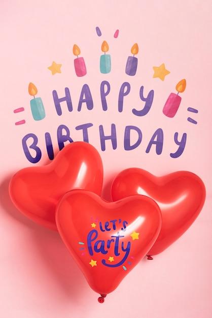 Party ballons mit geburtstag design Kostenlosen PSD