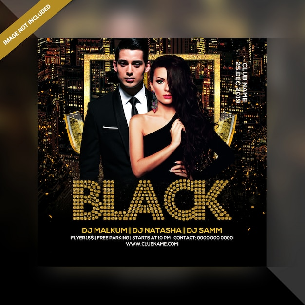 Party-flyer der schwarzen nacht Premium PSD
