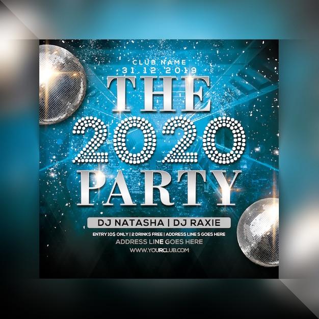 Party-flyer des neuen jahres 2020 Premium PSD