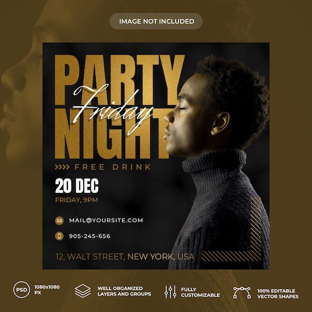 Party nacht social media banner vorlage Premium PSD