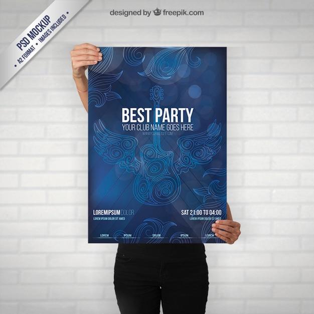 Party poster mockup mit einer gitarre Kostenlosen PSD