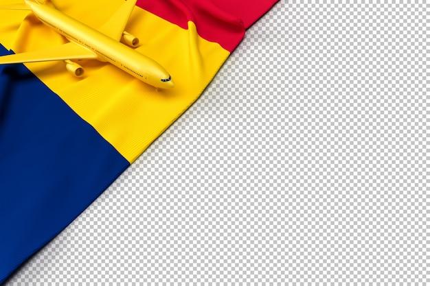 Passagierflugzeug und flagge des tschad Premium PSD