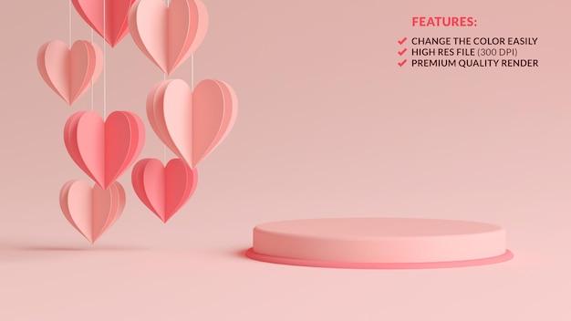 Pastellrosa valentinstag-podium mit hängenden papierherzen im 3d-rendering Premium PSD