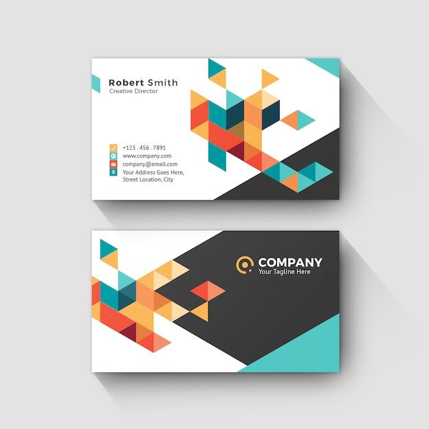 Persönliche namenskarte mit abstraktem geometrischem hintergrund Premium PSD