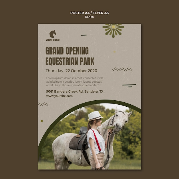Pferderanchplakatschablone Kostenlosen PSD