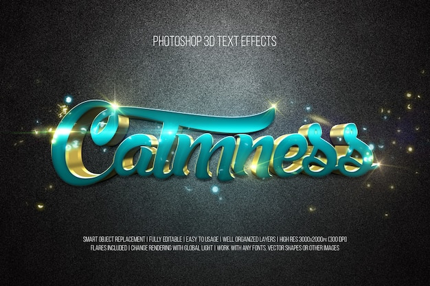 Photoshop 3d-texteffekte ruhe Premium PSD