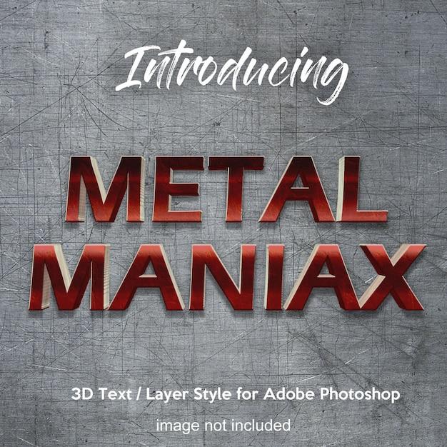 Photoshop-ebenenart-texteffekte des metalleisen-chrom 3d Premium PSD
