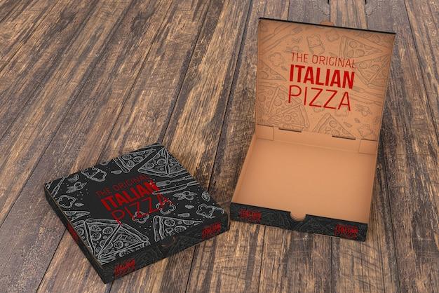 Pizza-box-modell öffnen Kostenlosen PSD