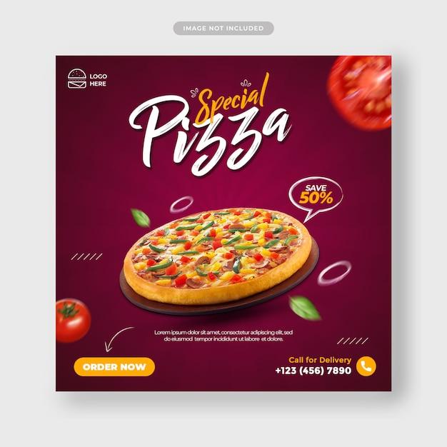Pizza essen menü förderung instagram post banner vorlage Premium PSD
