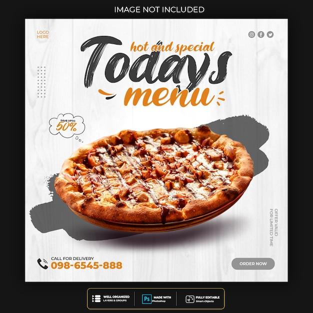 Pizza essen social media banner post vorlage Kostenlosen PSD