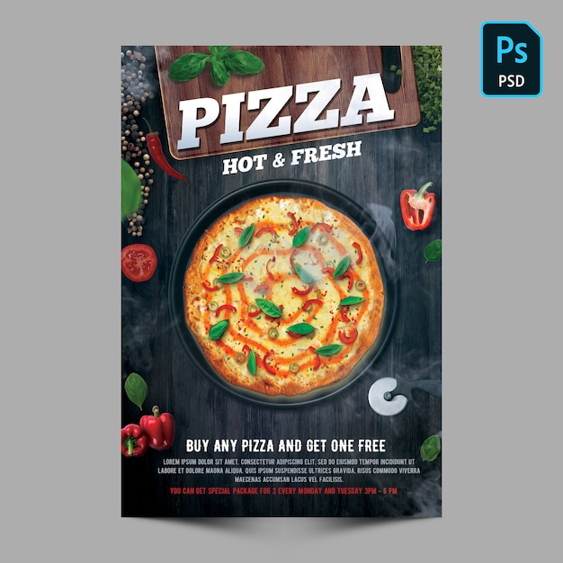 Pizza hot & fresh flyer vorlage Premium PSD