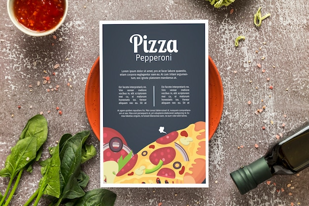 Pizza menü konzept modell Kostenlosen PSD