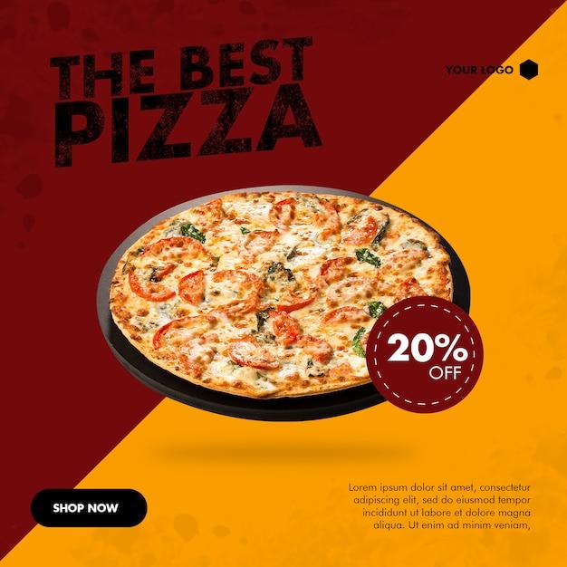 Pizza quadrat banner für social media Premium PSD