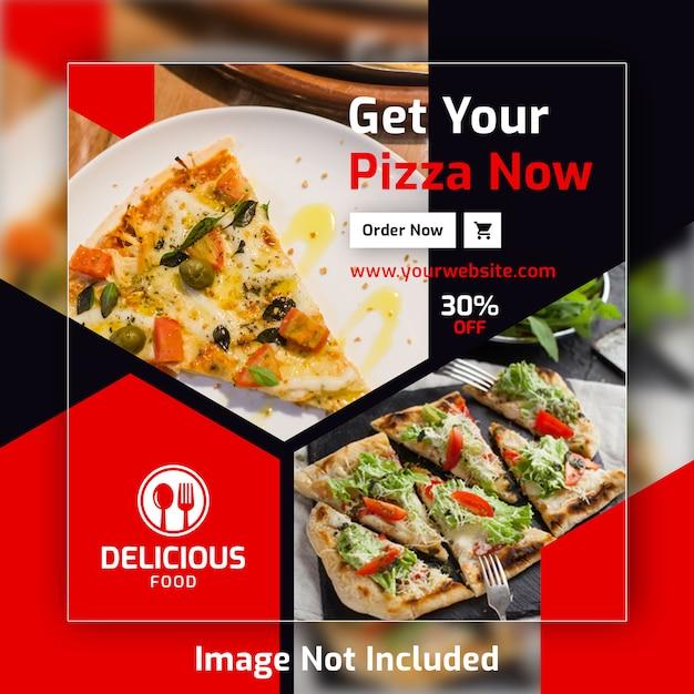 Pizza quadrat beitrag banner vorlage für restaurant Premium PSD
