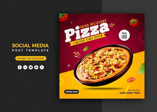 Pizza social media promotion und instagram banner post design vorlage Premium PSD