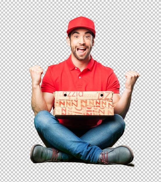 Pizzahändler, der einen pizzakasten halten sitzt Premium PSD