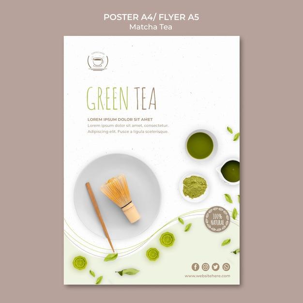 Plakat- / flugblattschablone des grünen tees Kostenlosen PSD