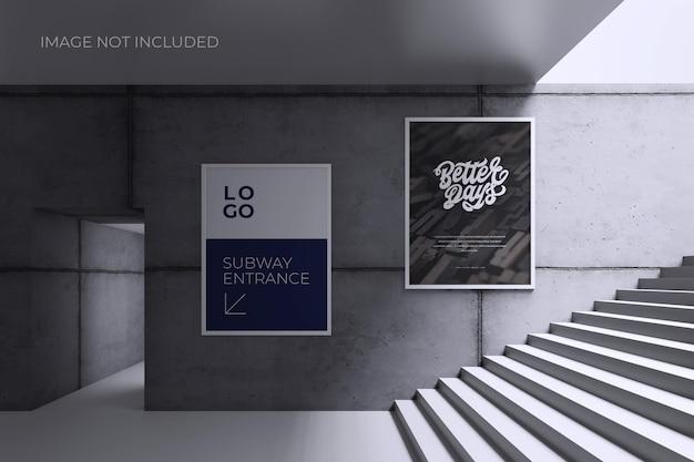 Plakat oder zeichen auf grauem wandmodell Premium PSD