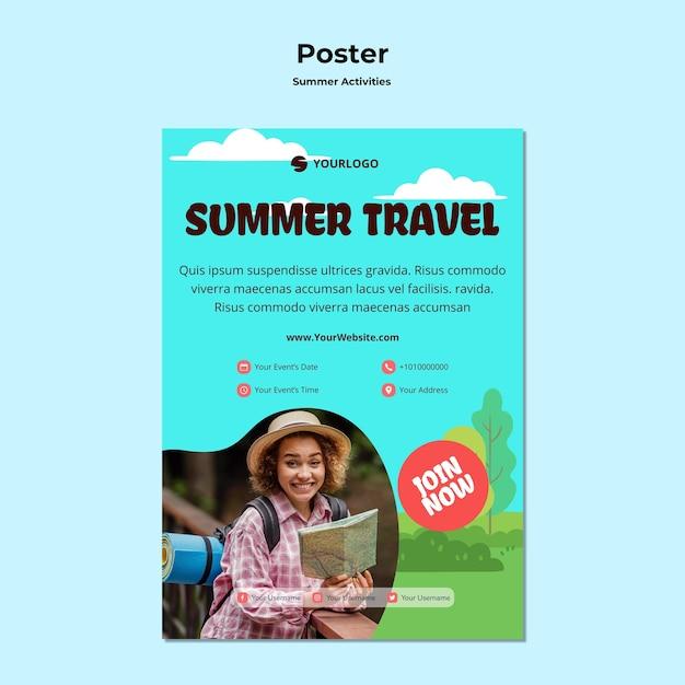 Plakat sommerreise anzeigenvorlage Kostenlosen PSD