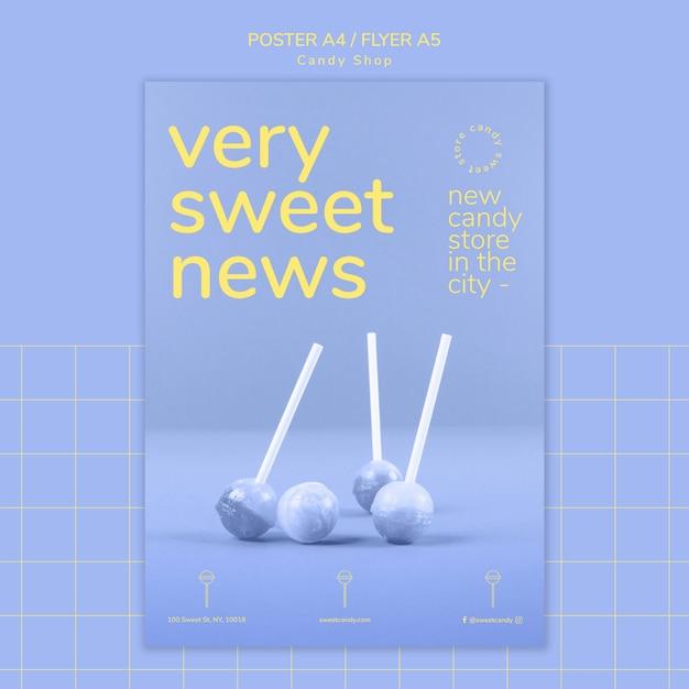 Plakatgestaltung für vorlage für süßwarenladen Kostenlosen PSD