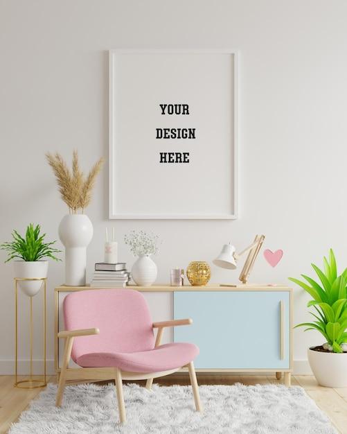 Plakatmodell mit vertikalen rahmen auf leerer weißer wand im wohnzimmerinnenraum mit rosa samtsessel. 3d-darstellung Premium PSD