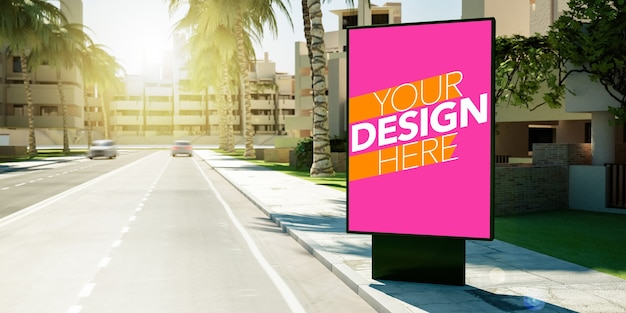 Plakatplakat für kommerzielles anzeigenmodell am straßenrand Premium PSD