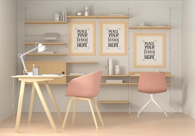 Plakatrahmen im wohnzimmer psd mockup Kostenlosen PSD