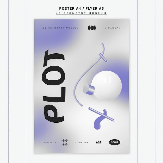 Plakatschablone der geometrischen formen 3d Kostenlosen PSD