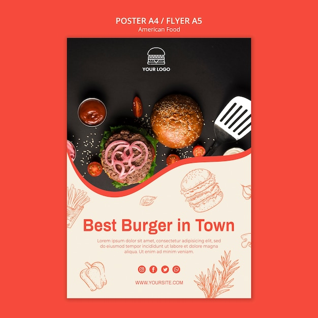 Plakatschablone für burger-restaurant Kostenlosen PSD