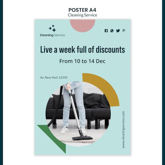 Plakatschablone für hausreinigungsunternehmen Kostenlosen PSD
