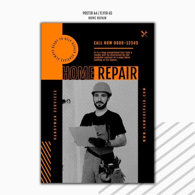 Plakatschablone für hausreparaturfirma Premium PSD