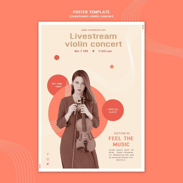 Plakatschablone für livestream-violinkonzert Kostenlosen PSD