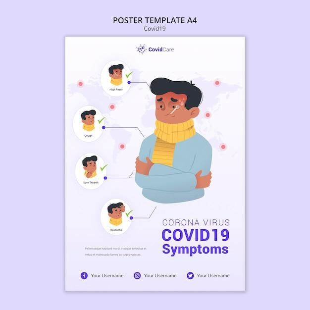Plakatschablone mit covid19 Kostenlosen PSD