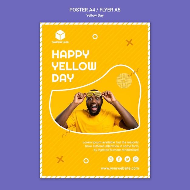Plakatschablone mit gelbem tag Kostenlosen PSD