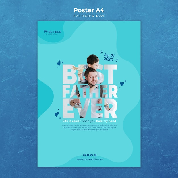 Plakatschablone mit vatertagskonzept Kostenlosen PSD