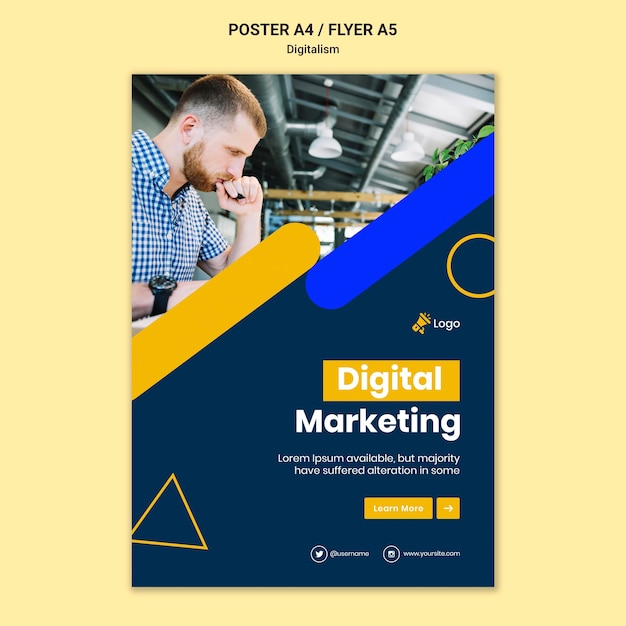 Plakatvorlage für digitales marketing Kostenlosen PSD