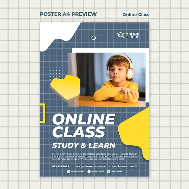 Plakatvorlage für online-klassen mit kind Kostenlosen PSD