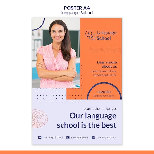 Plakatvorlage für sprachschule Kostenlosen PSD