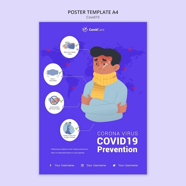 Plakatvorlage über covid19 Kostenlosen PSD