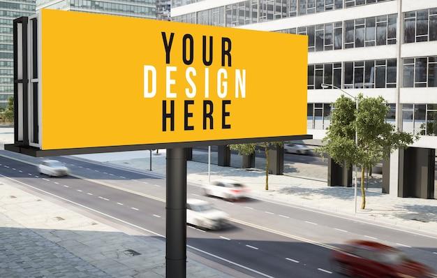Plakatwerbung im innenstadtmodell der stadt Premium PSD