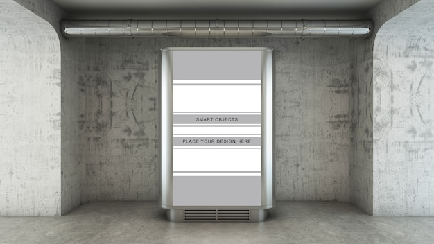 Plakatwerbung in einem betonweg in 3d rendern Premium PSD