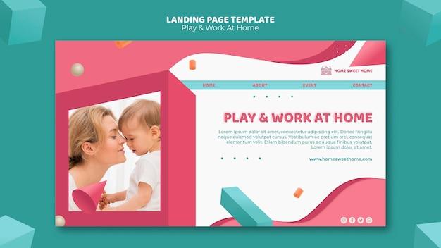 Play & work zu hause konzept landing page vorlage Kostenlosen PSD